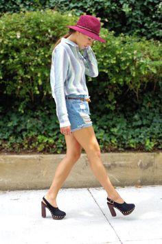 Ripped Denim Shorts, Stud Heels, and Hat Oufit | Denim Beans