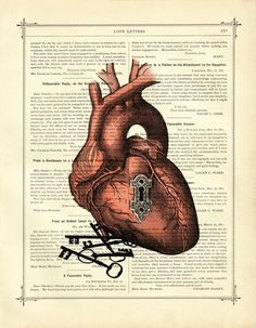 Valentine Anatomical Heart with Keyhole and Key to your Heart - Vintage Victorian Book Page Art Print Steampunk. $9.90, via Etsy.