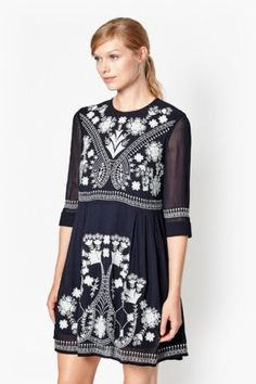 Kiko Stitch Embroidered Dress | New Arrivals | French Connection Usa