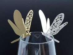 100 Laser cut Dragonfly table name cards for wedding party glass of Confetti decoration