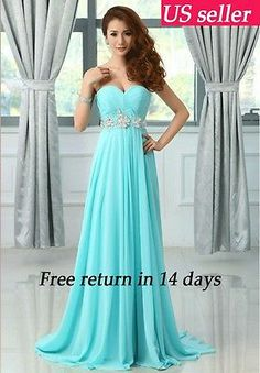 Strapless Long Chiffon Blue Bridesmaid Evening Ball Gown Prom Formal Party Dress | eBay