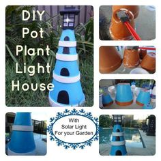Create a Lighthouse using plant pots (clay pots) in different sizes. Create a small one for inside or a large one for a dramatic yard art. So easy to DIY!