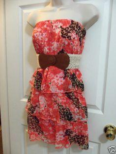 Bongo Women's Junior Lt and Airy Animal Print Georgette Tier Dress Sz X-Lg NWT