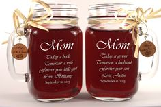 Mom Wedding Gift Mason Jars, Mother of the Groom Gift, Mother of the Bride Gift, Personalized Engraved Wedding Favors Mason Jars
