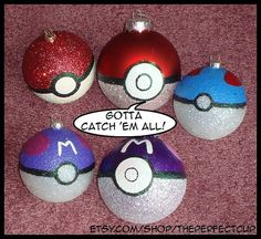Pokemon Ornaments hand painted & shatter by ThePerfectCup on Etsy