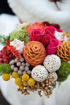 Though ocean-inspired, this bouquet has colors and plants that carry the perfect amount of quirkiness for Wonderland! Though ocean-inspired, this bouquet has colors and plants that carry the perfect amount… Tropical Wedding Bouquets, Neutral Wedding Flowers, Floral Wedding, Fall Flowers, Orange Flowers, Fresh Flowers, Rustic Wedding, Fall Bouquets, Floral Bouquets