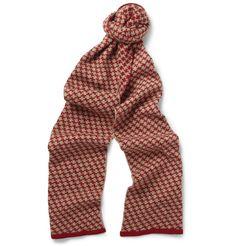 YMC Patterned-Knit Merino Wool Scarf