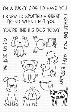 Dog Cards, Baby Cards, When I Met You, Pattern Coloring Pages, Birthday For Him, Mft Stamps, Great Friends, Digital Stamps, Big Dogs