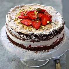 Gluten Free Dark Chocolate Strawberry Mascarpone Gateau. Click on pic on site to get recipe.