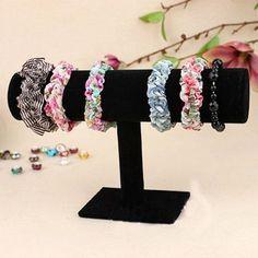 Velvet-T-Bar-Jewelry-Rack-Bracelet-Necklace-Stand-Organizer-Holder-Display-Black