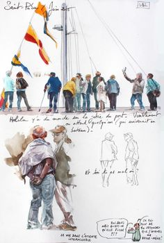 A Britain by the contours / Saint-Pabu Watercolor Sketchbook, Artist Sketchbook, Watercolor Print, Watercolor Illustration, Painting People, Drawing People, Figure Painting, Painting & Drawing, Watercolor Portraits