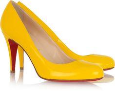 Christian Louboutin Ron Ron 85 patent-leather pumps, #shoes #pumps christian louboutin #women #polyvore #yellow