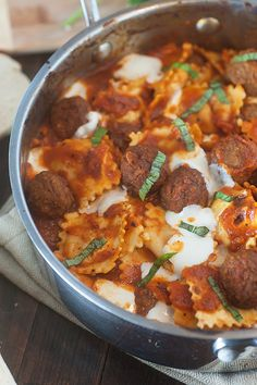 Cheese Ravioli Meatball Skillet recipe...less than 30 minutes to get dinner on the table!