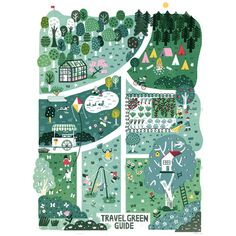 """Beautiful greenery in this """"Travel Green Guide"""" garden illustration for Vogue Kids by Garden Illustration, City Illustration, Vogue Kids, Village Map, Map Pictures, Travel Pictures, Maps For Kids, Art Drawings Beautiful, Map Design"""