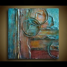 Original Abstract Painting - Abstract Art - TEXTURED Painting - Shades of Turquoise, Brown, Rust, Golden Amber and White - by Marie - Texture Art, Texture Painting, Painting & Drawing, Painting Techniques, Modern Art, Art Projects, Original Paintings, Abstract Art, Canvas Art
