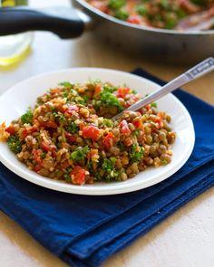 Sautéed Garlic and Tomato Lentil Salad
