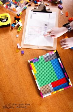 I gave Raisin a challenge this morning: find the area and perimeter of his bedroom.He started with graph paper and then he was delighted to get to work in making a bedroom model once I mentioned LEGO bricks. --Line upon Line Learning blog
