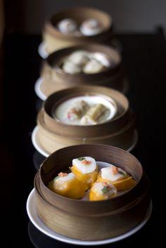 Asian Cuisine dishes served in a Yum Cha restaurant. Featuring egg rolls, dim sim..