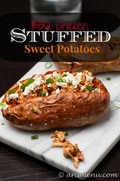 BBQ Chicken Stuffed Sweet Potatoes: An easy, hands-off and healthy weeknight dinner that makes you feel like you're at a fancy restaurant. #Fitfluential #EAT