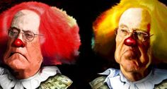 The Koch brothers as clowns (DonkeyHotey/Flickr)