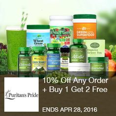 New Customer Exclusive! 10% Off Any Order + Buy 1 Get 2 Free. Puritan's Pride brand. Plus Free Shipping. See Details. Ends 4/28 11:59 PM PST.  Brought to you by http://www.imin.com and http://www.imin.com/store-coupons/puritans-pride/