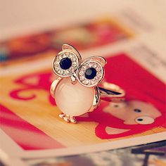 Cheap Cute Owl Opal Opening Animal Crystal Ring For Big Sale!Cute Owl Opal Opening Animal Ring is a simple but unusual ring. Owl Jewelry, Cute Jewelry, Jewelry Accessories, Jewlery, Jewelry Shop, Jewelry Rings, Owl Ring, Ring Ring, The Bling Ring