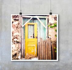Greek Travel Photography: Old wooden grungy shabby chic yellow doors in Crete - 22x22 12x12 18x18 22x22 inch square Fine Art Photo Print