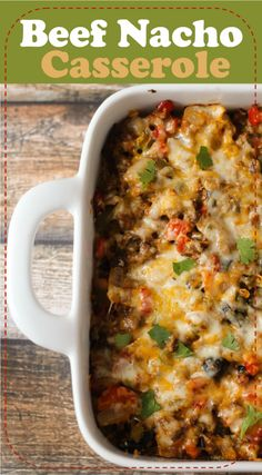 Beefy Nacho Casserole with a tortilla chip crust