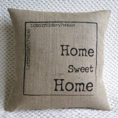 Personalised Love Poem Quote Hessian Jute Burlap Canvas Pillow Cushion Cover from VintageDesignsReborn on Etsy. Saved to Gifts. Hessian Fabric, Burlap Pillows, Decorative Pillows, Decor Pillows, Sewing Pillows, Burlap Projects, Burlap Crafts, Sewing Projects, Sisal