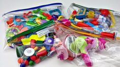 Zipper bags for toy organization! Love this idea!