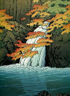 Japanese Ukiyo-e: Senju Waterfall, Akame. Hasui Kawase. 1951
