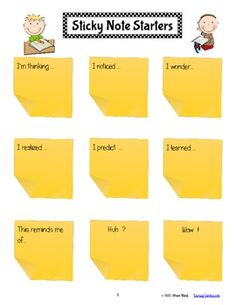 CLOSE READING with ANY BOOK {Using Sticky Notes} This unit provides you with all you need to successfully manage the use of sticky notes to assess your students' thinking. Reading Resources, Reading Strategies, Reading Activities, Reading Skills, Teaching Reading, Reading Comprehension, Guided Reading, Teaching Ideas, Partner Reading