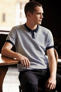 Geo Knitted Polo from the Next UK online shop
