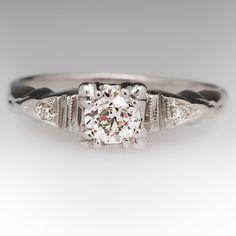 1930's old euro diamond engagement ring $1599