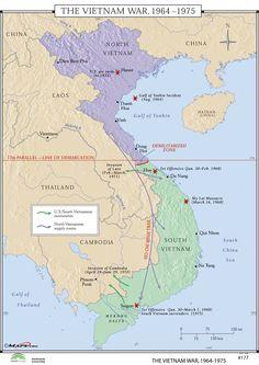 World History Wall Maps - Vietnam War 1964-75