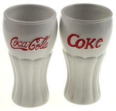 White Coca Cola Ice Cream Sundae Glasses Set of 2 White Houston Harvest 2002