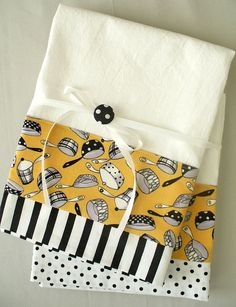 Kitchen towels pots and pans geometric pattern in black, white and gold cotton fabric accent - set of two flour sack towels