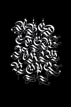 Blackletter/Fraktur alphabets by Bertram Kaiser, via Behance