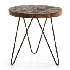 Kave Home Afton - Bijzettafel - Bruin Wooden Pallet Furniture, Wooden Pallets, Metal Furniture, Industrial Furniture, Design Origami, Wire Chair, Iron Table, Industrial Table, Wood Slab