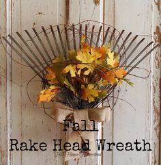 Old rake fall wreath, a lovely alternative to a traditional round wreath, by Hill House Homestead, featured on http://www.ilovethatjunk.com
