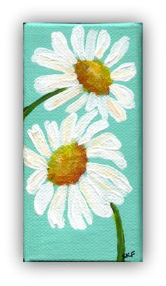 White daisies mini painting, acrylic mini canvas painting, aqua 2 x 4 canvas with Easel. mini canvas painting, small daisy art by SharonFosterArt on Etsy https://www.etsy.com/listing/191533428/white-daisies-mini-painting-acrylic-mini