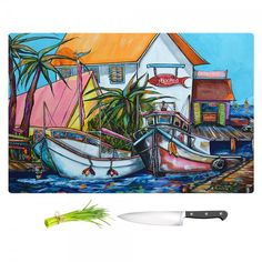 Patti Schermerhorn's Just a Little Beach Town Kitchen Cutting Board | DiaNoche Designs