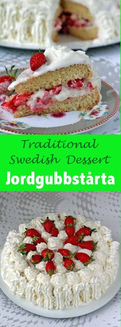 Jordgubbstårta is the iconic Swedish cake of Midsommar that consists of a light…