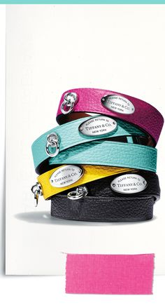 Wrapped and ready. An iconic Return to Tiffany leather wrap bracelet makes a bold and colorful statement. Tiffany N Co, Tiffany Blue Box, Return To Tiffany, I Love Gold, Cat Hacks, Bedroom Eyes, Leather Dog Collars, I Love Jewelry, Diamond Are A Girls Best Friend