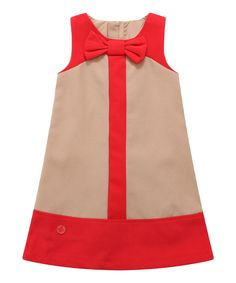 Look at this Tan Color Block Wool-Blend Shift Dress - Infant, Toddler & Girls on #zulily today!