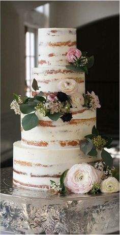 Semi-nude cake with theme florals