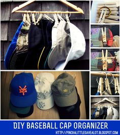 Pinch A Little Save A Lot: DIY: Baseball Cap Organizer