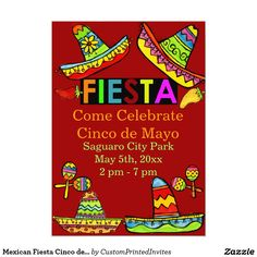 "Mexican Fiesta Cinco de Mayo Invitations Red 5"" X 7"" Invitation Card by CustomPrintedInvites"