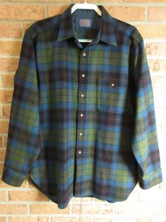 Mens Wool Shirt Pendleton Free One Day Priority Blues Green | Etsy Pendleton Wool, Vintage Shirts, Blue Green, Blues, Men Casual, Plaid, Sleeves, Mens Tops, How To Wear