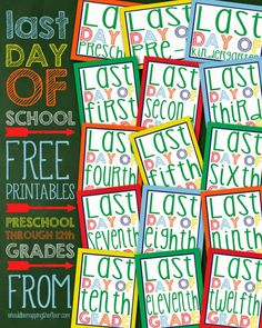 Bright & colorful Last Day of School photo props for each grade. See the matching First Day signs too! End Of School Year, School Fun, School Teacher, School Days, School Stuff, Teacher Stuff, Ninth Grade, Second Grade, Kindergarten Graduation